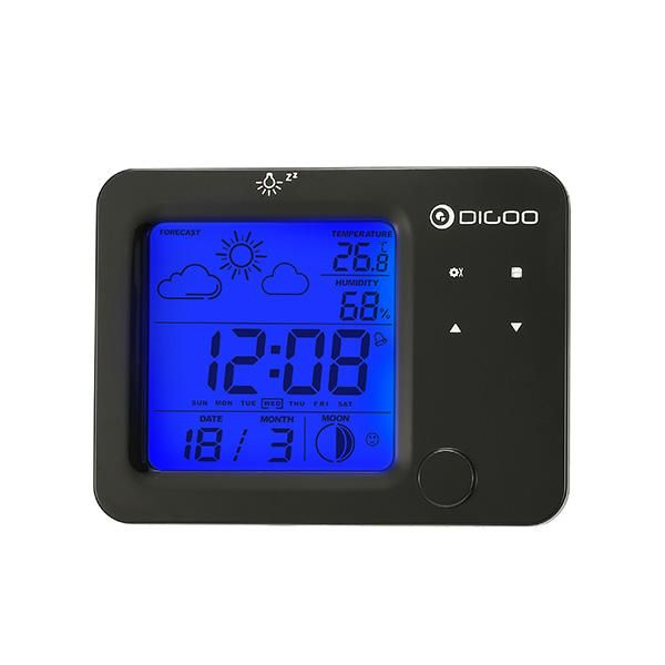 Digoo Dg-c5 C5 Wireless Touch Sensor Weather Forecast Station Blue Backlit Hygrometer Thermometer Led Alarm Clock Security & Protection