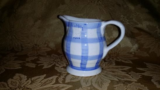 VINTAGE ENESCO Country Living Dry Goods Creamer, Blue & Off White Speckled Plaid by NookHook on Etsy