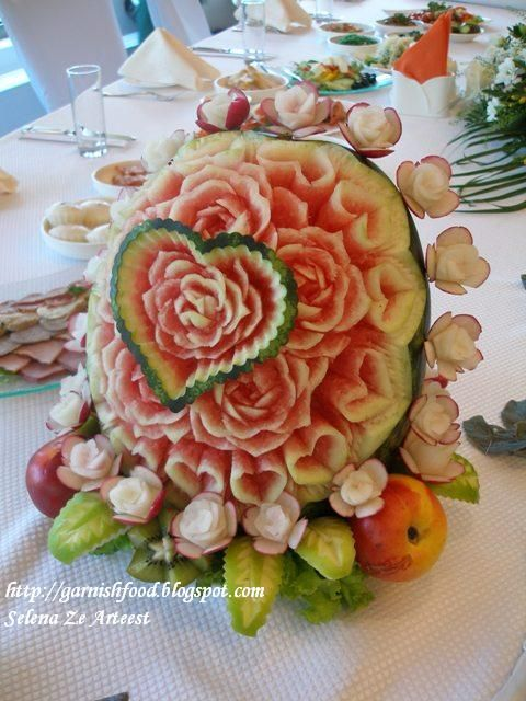 Wedding watermelon but with our names carved into it