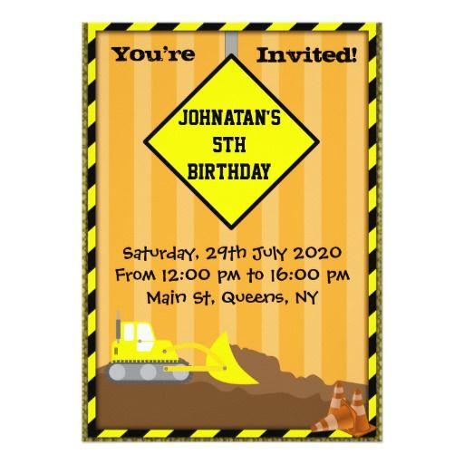 Bulldozer Construction Birthday Invitation