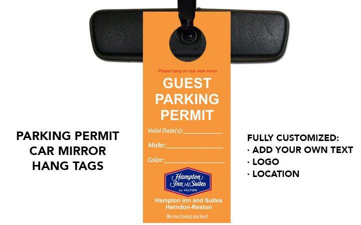 Hotel Tools Parking Permit Mirror Hang Tags Hang tags