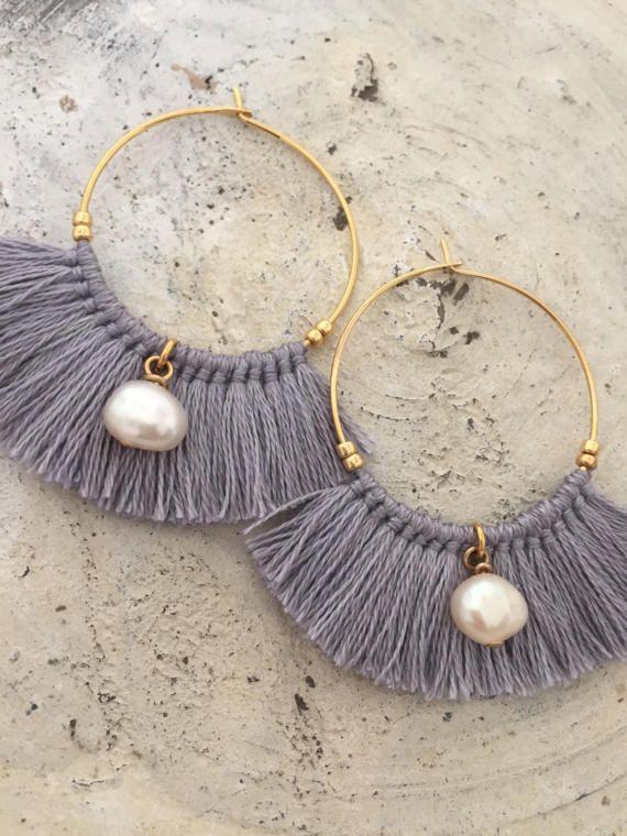 Pendientes perla pendientes de borla pendientes flecos  a00f064258d