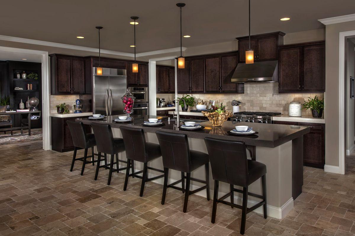 Nice long center island kitchens dark cabinets pinterest home new homes and kb homes for Kb homes design center las vegas