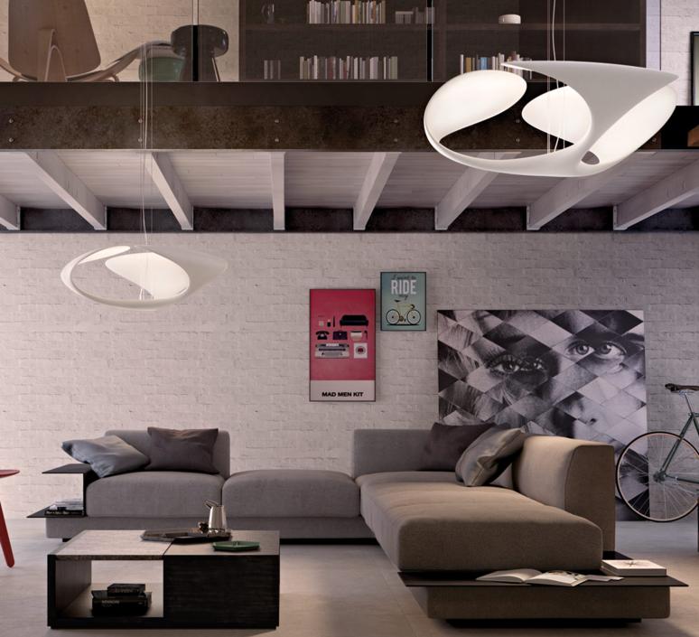 Lustre Clover blanc LED ˜70cm H25cm Kundalini