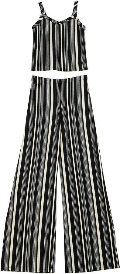 Sally Miller The Catte Stripe Crepe Crop Top w/ Matching Wide Leg Pants, Size S-XL #sallymiller
