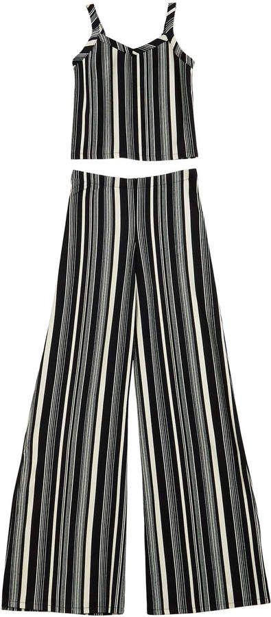Sally Miller The Catte Stripe Crepe Crop Top w/ Matching Wide Leg Pants, Size S-XL #sallymiller