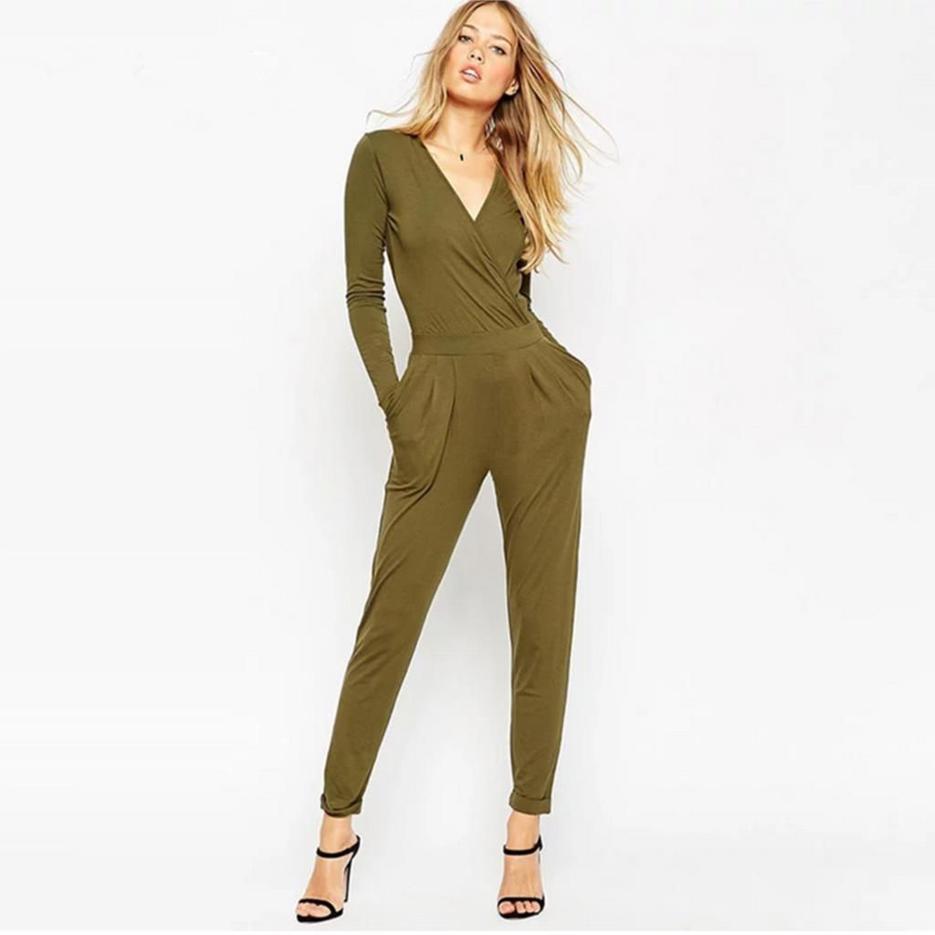 OL Style Vintage Autumn Army Long Sleeve Rompers Women Jumpsuit ...