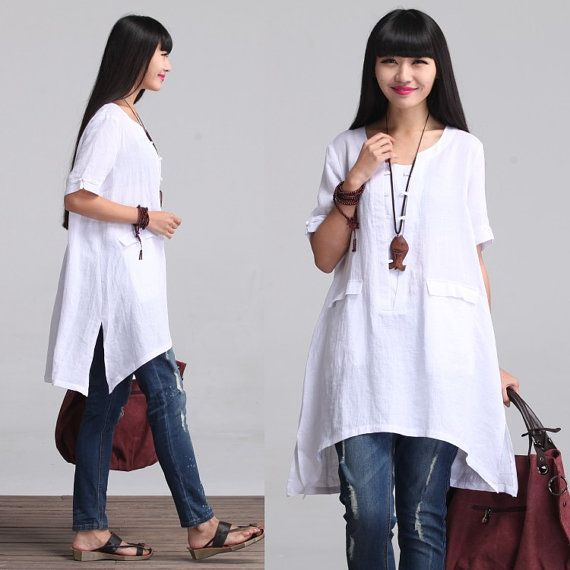 Loose Fitting Plus Size Linen Shirt Blouse for Women(C) - Off-White ...