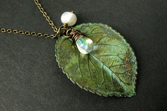 Green Leaf Charm Necklace with Clear Teardrop and Fresh Water Pearl by StumblingOnSainthood