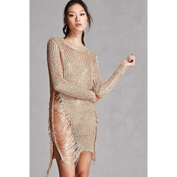 b8a958bd41 Forever21 Metallic Open-Knit Sweater ( 48) ❤ liked on Polyvore featuring  tops
