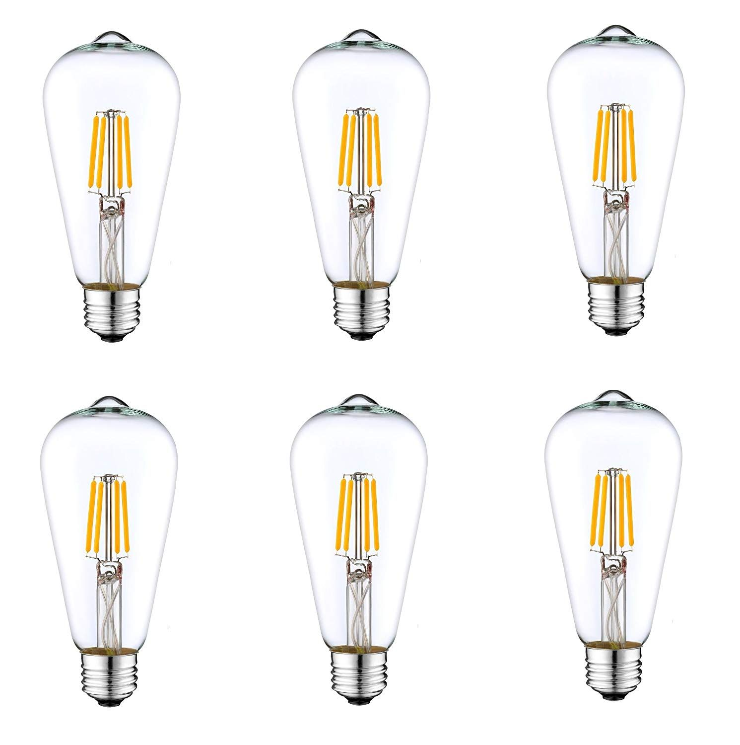 6 Pack Dc 12v Nostalgic Warm White 3000k 6watt Led Edison Filament St64 Light Bulb E26 E27 Medium Base Lamp Low Volta Cage Pendant Lamp Bulb Pendant Light Bulb