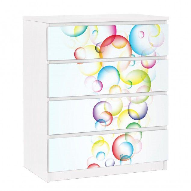 Mobelfolie Fur Ikea Malm Kommode Selbstklebende Folie Rainbow Bubbles Ikea Malm Kommode Malm Kommode Ikea Malm