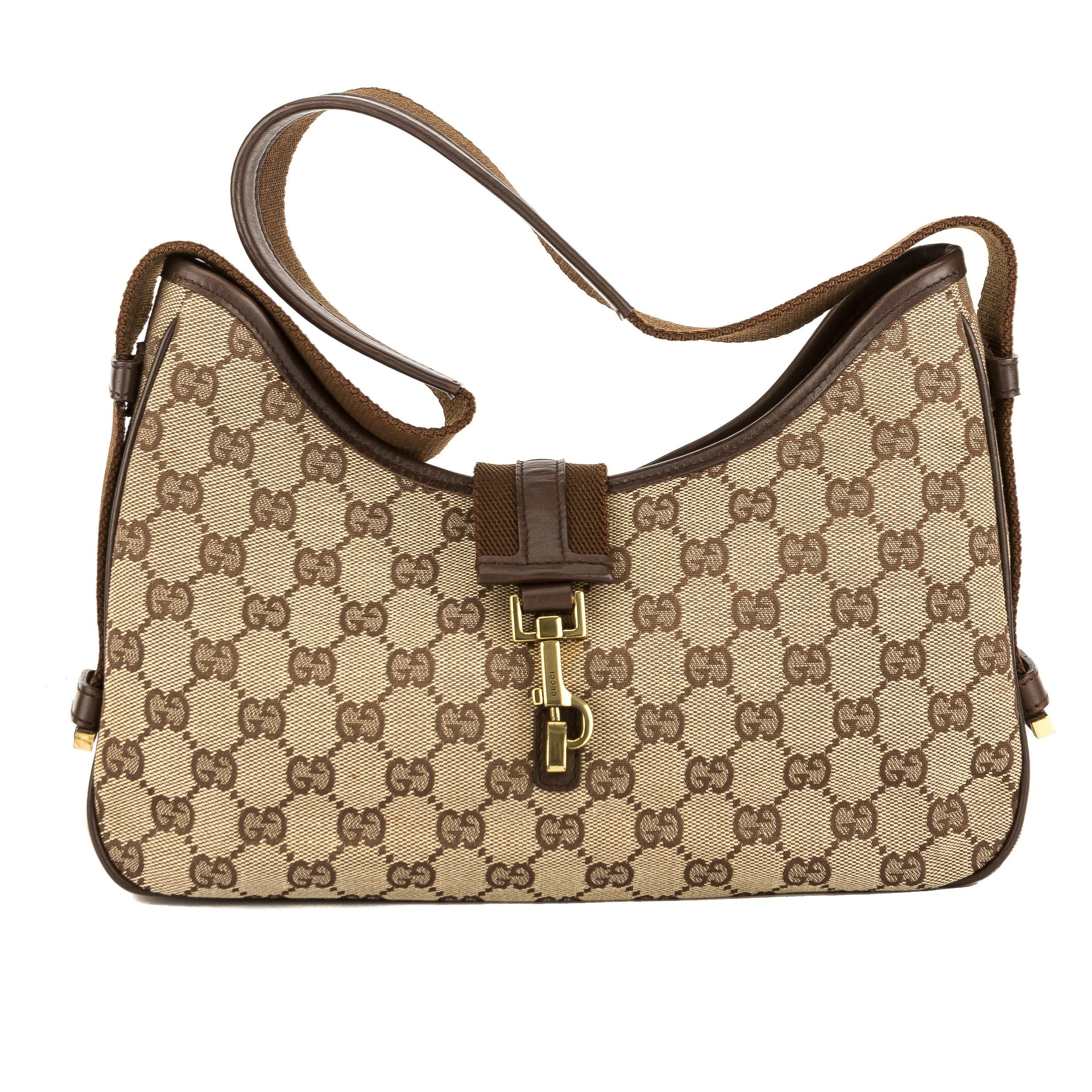 8be208668e1 Gucci Brown Leather GG Monogram Canvas Bag (Pre Owned)