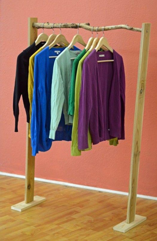 Rustic diy clothing rack for your bedroom closet diy for Diy clothes closet