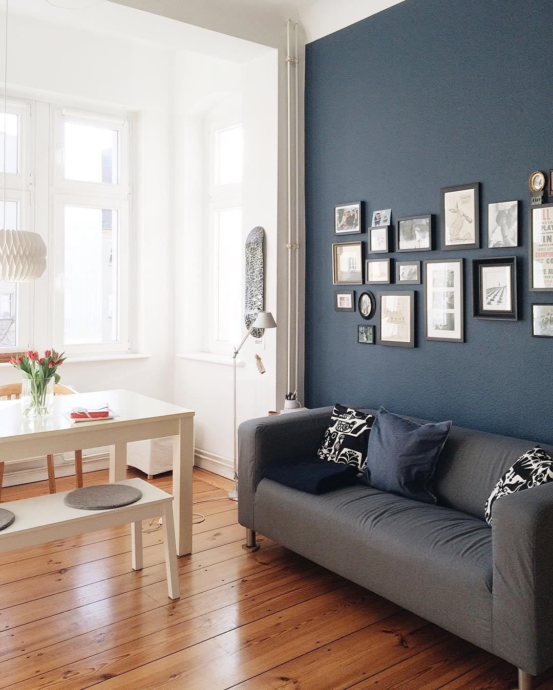 Blue Accent Wall For An Eclectic Interior. Are You Looking