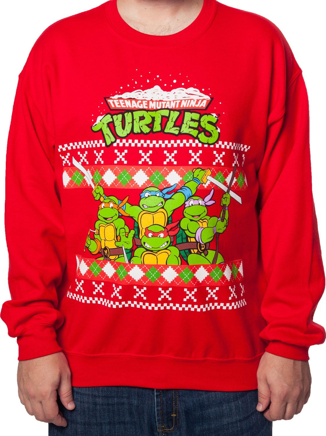 tmnt group faux ugly sweater tmnt mens sweatshirt christmas t shirt christmas sweaters
