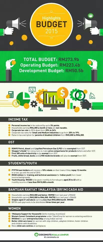 Budget 2015 Malaysia At A Glance Budgeting Infographic Income Tax