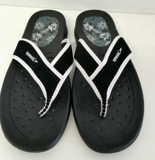 42388cdd45e SPEEDO Rubber MEN S FLIP FLOP S SIZE 9 BLACK AND WHITE WITH Black SOULs