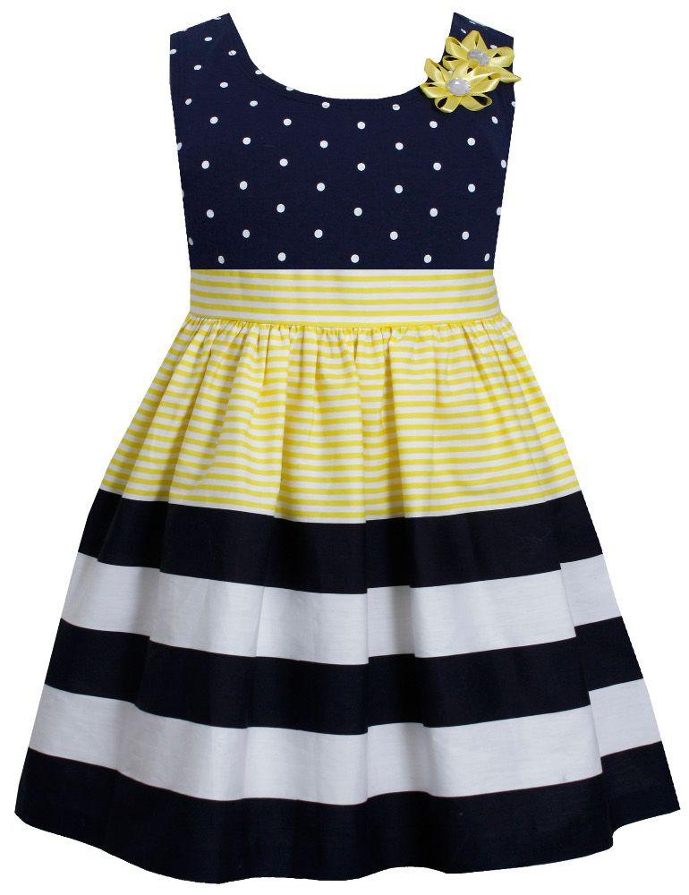 Bonnie Jean Little Girls Dot Stripe Banded Yellow Dress | Girls ...