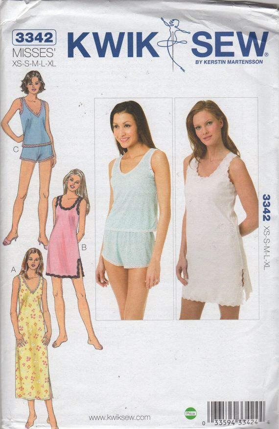 Kwik Sew 3342 Misses Nightgown and Pajamas Pattern V or Scoop Neck ...