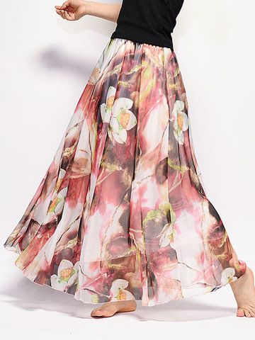22102ee73 Bohemian Chiffon Floral Print Elastic Waist Maxi Skirt For Women ...