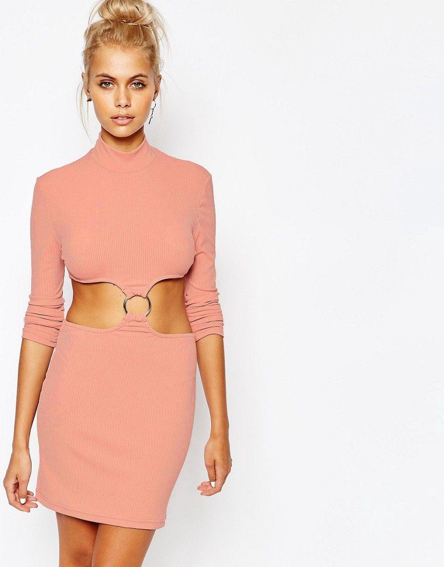 Mega seje The Ragged Priest High Neck Bodycon Dress with Cut Out Ring Detail - Pink The Ragged Priest Bodycon Kjoler til Damer i lækker kvalitet