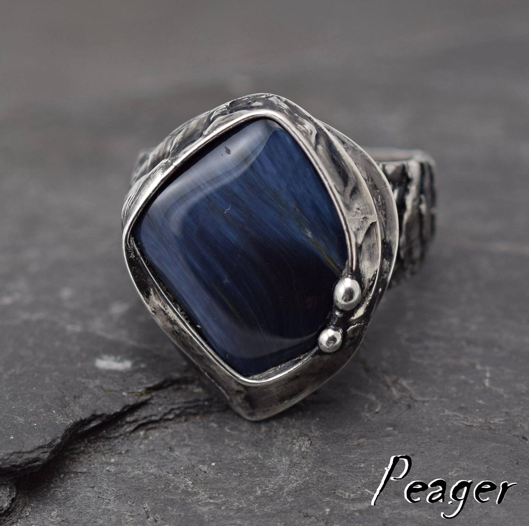 aquamarine handmade pin size ring pietersite stone natural solid rings silver