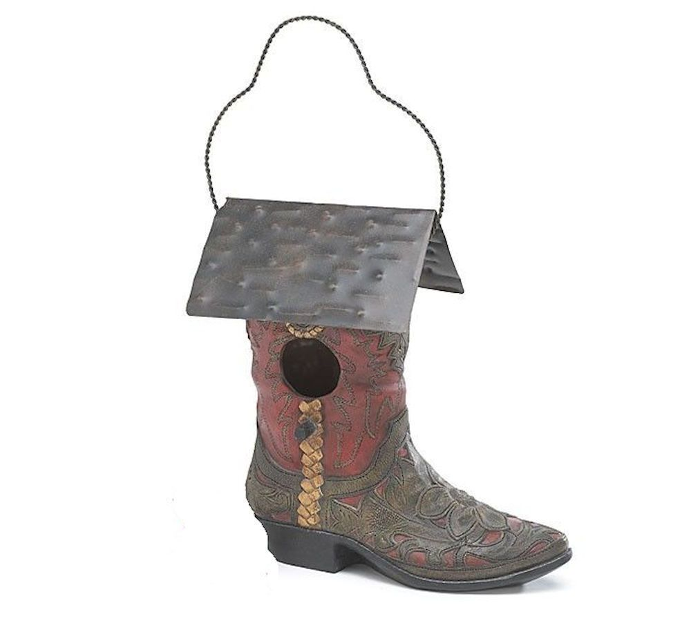 NEW Western Cowboy Boot Birdhouse Resin Tin Roof Garden Decor burton+BURTON  #burtonBURTON #BootBirdhouse