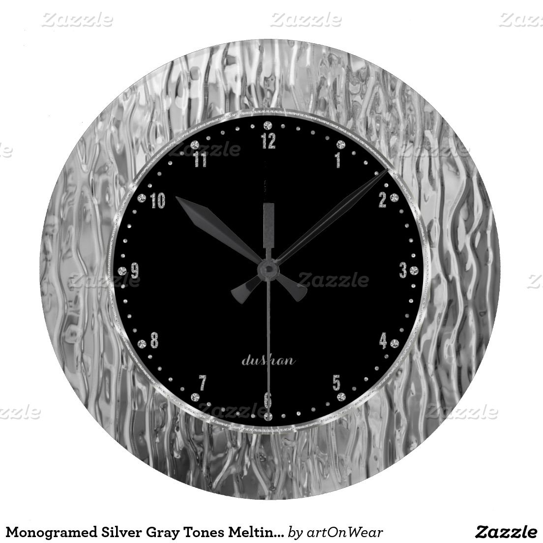 Monogramed Silver Gray Tones Melting Stained Glass Wall Clocks