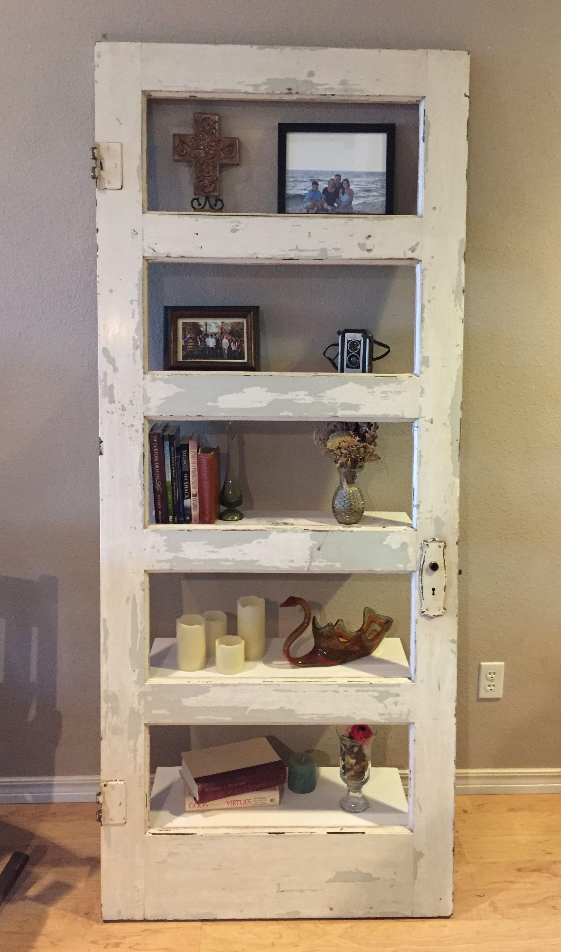 Old Door Made Into A Shelf Shelves Pallet Diy Pallet
