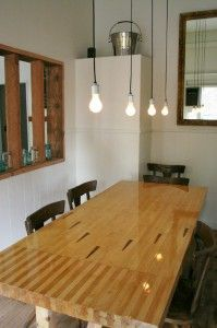 Restaurant and Bar in McMinnville, Oregon Reclaimed Bowling Alley Wood Dining TableReclaimed Bowling Alley Wood Dining Table