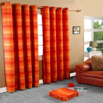 100 Cotton Morocco Striped Terracotta Curtain Pair