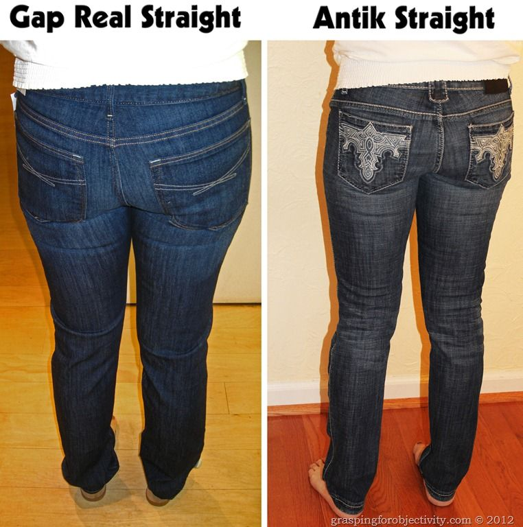 Same girl, same day, showing about 30 different pairs of jeans to help illustrate the importance of a good cut/fit/style. What to look for in pocket placement, flare, waist, etc. to best compliment your body.