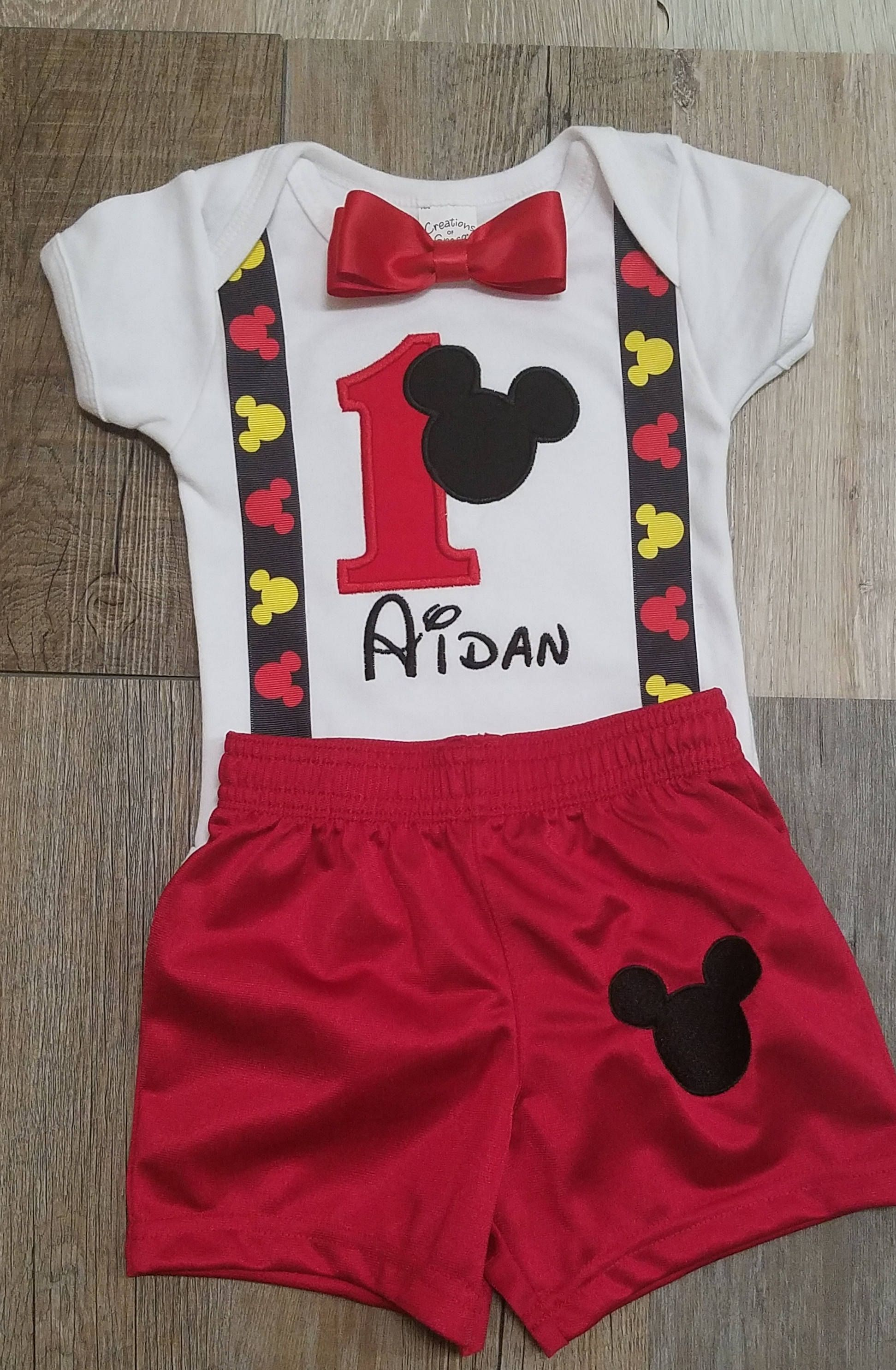 1st birthday boy outfit Mickey Mouse birthday outfit cake smash boy Birthday outfit for boy personalized, boys birthday set Mickey birthday