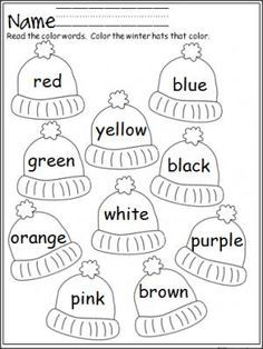 free winter hats coloring activity that provides practice with color words terrific for pre - Colour Worksheet For Kids