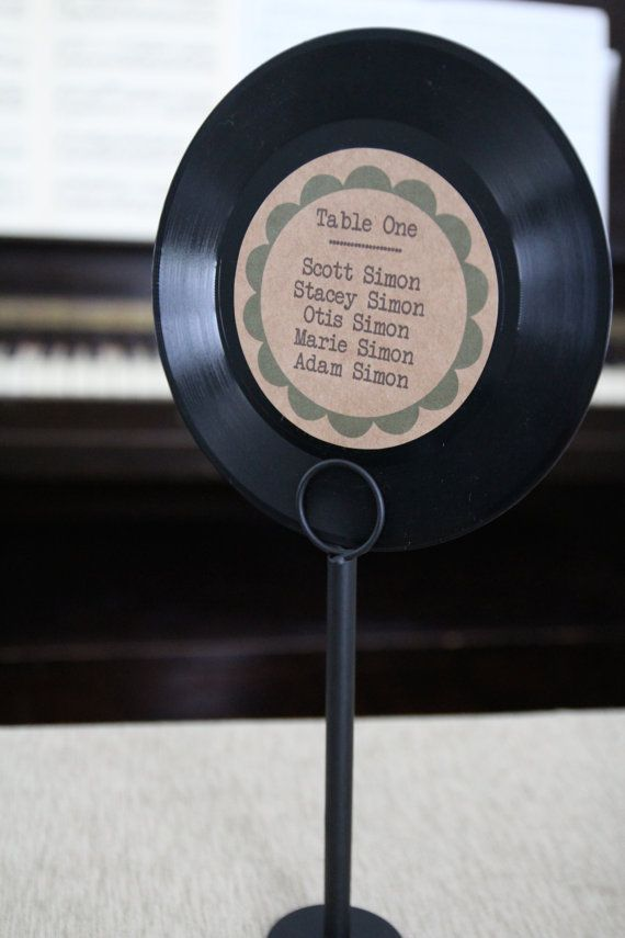 Vinyl Record Table Seating Chart By Laflammerouge On Etsy 5 00 Seating Chart Wedding Table Seating Chart Music Themed Wedding