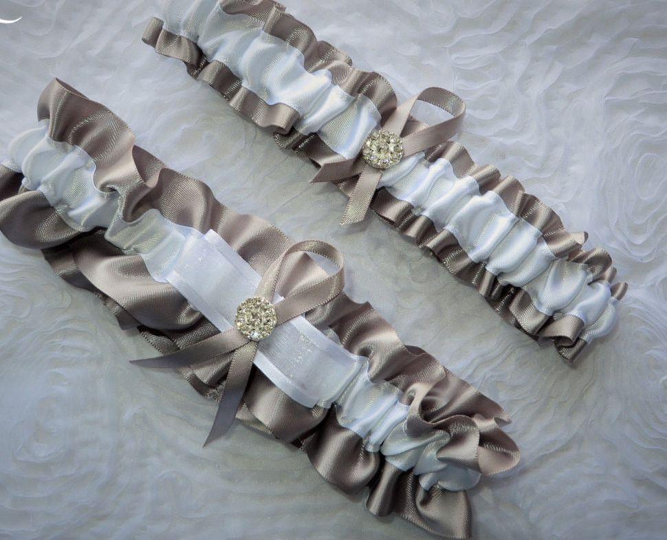 Prom Garter Silver Garter Set Wedding Garter Silver Garter Keepsake and Toss-away Garter Set Ribbon Garter Bridal Garter