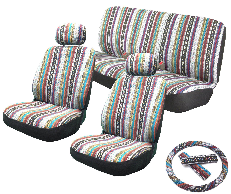 Amazon Baja Inca 11pc Saddle Blanket Seat Covers Set Front Pair Bench Steering