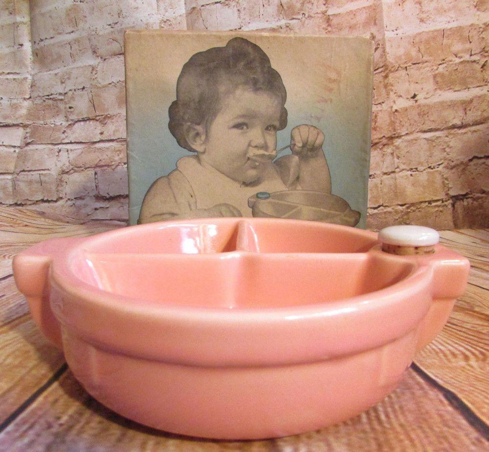 Vintage Hankscraft Pink Ceramic Baby Food Warmer w/ Original Box #Hankscraft