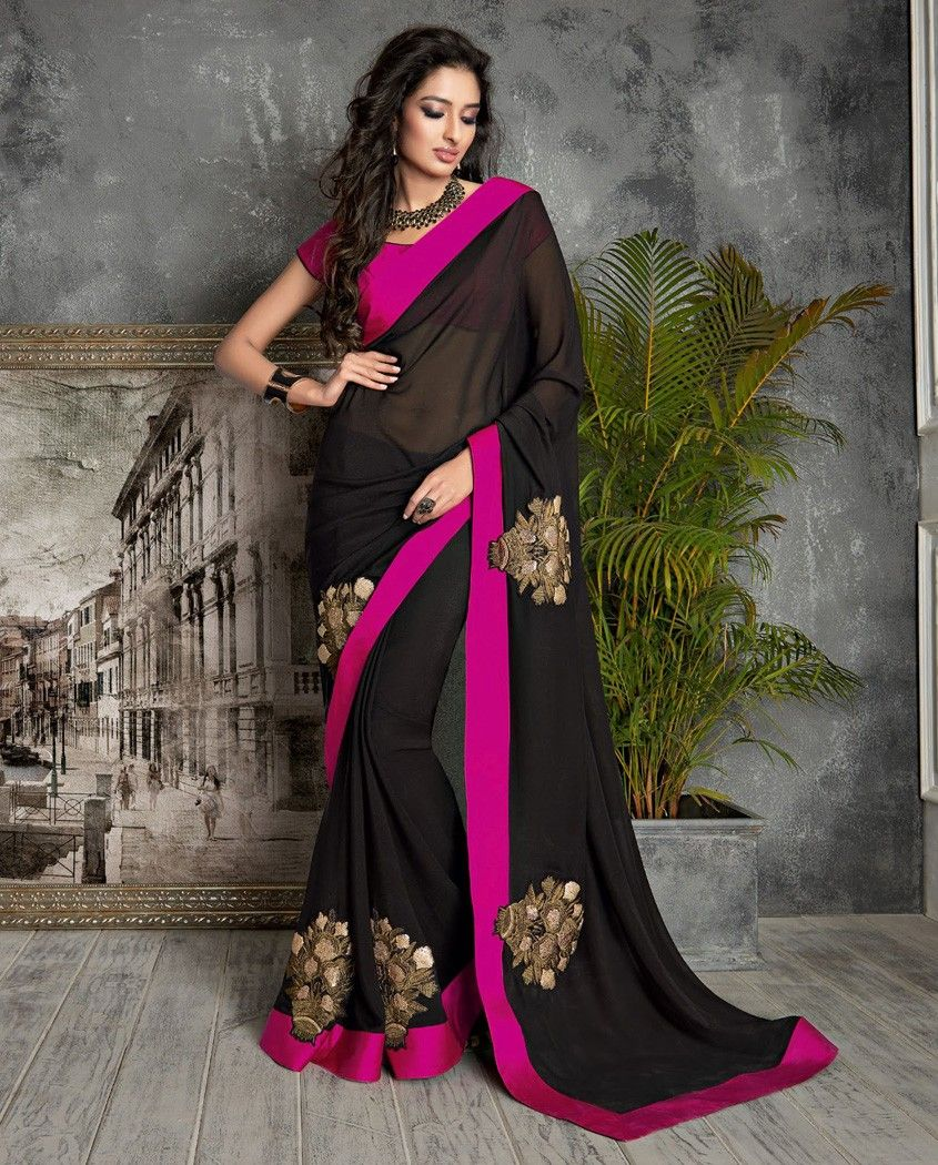 Black sari with pink border   1. Black georgette sari2. Comes with matching unstitched blouse