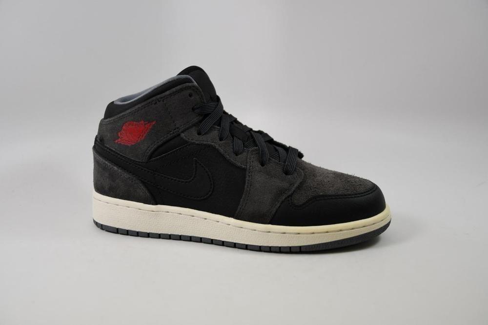 differently 7464f 24b78 eBay  Sponsored Nike Air Jordan 1 Mid BG Black Gym Red lot 554715 018 Kids  Youth Size 4 4Y