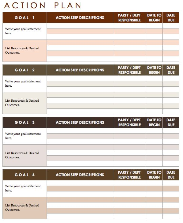 Action Plan Template  Calla    Template
