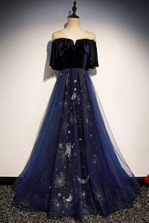 Pretty Navy Blue A-line Tulle Evening Dresses,Sparkly V-neck Floor Length Evening Dresses,Prom Dresses.322