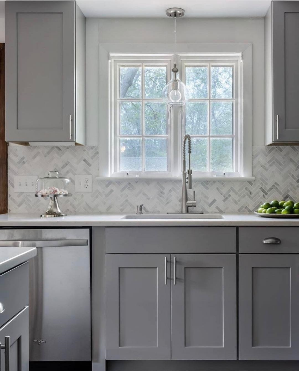 - White Walls, Gray Cabinets, Gray And White Backsplash