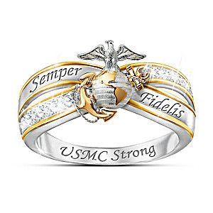 """Always USMC"" White Topaz Ring With Sculpted Marine Emblem"