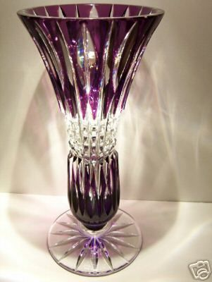 Caesar Crystal Vase Purple Bohemian Cut To Clear Cased Overlay Czech