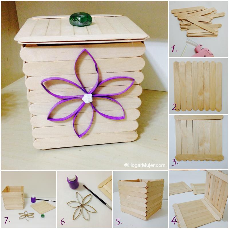 Como hacer una cajita con palitos de helado ideas dias - Hacer una caja de madera ...