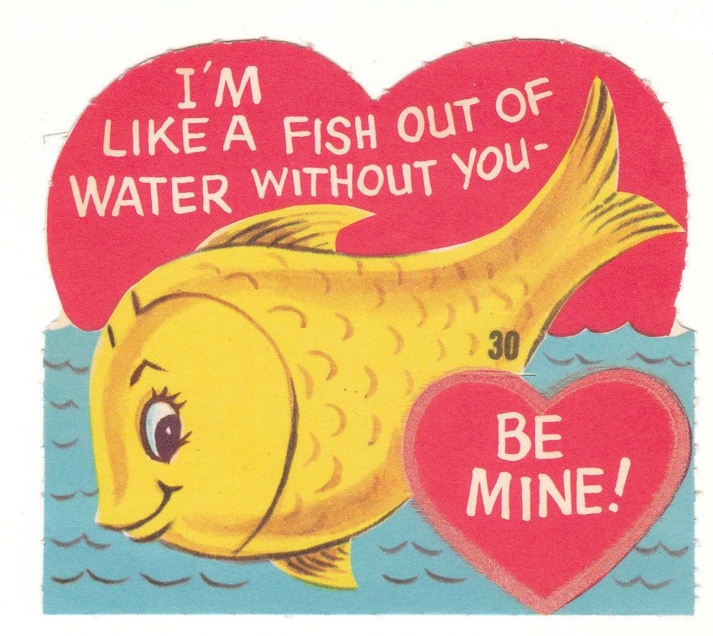 Vintage valentine card fish out of water unused flocked die cut vintage valentine card fish out of water unused flocked die cut kristyandbryce Choice Image