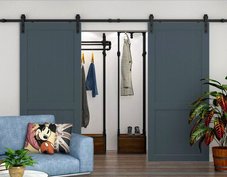 Double Barn Door Hardware With Soft Close Wood Doors Interior Interior Barn Door Hardware Doors Interior