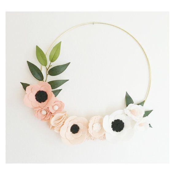 Photo of Wreath || Pink Ombre Wreath || Wreaths || Flower Wreath || Spring Wreath || Felt Flower Wreath || Modern Wreath || Wedding Wreath || Decor